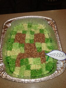 creeper minecraft rice krispie treats
